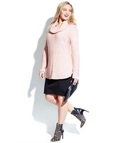 Fashion Bug Plus Size Ribbed Knit Cowl Neck #Sweater www.fashionbug.us #PlusSize #FashionBug