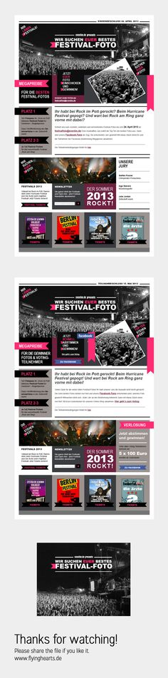 http://design.flyinghearts.de - Festival Foto Contest  - Landingpage - by Melanie Grote a  #designer based in #Hamburg / #Germany -  #webdesign