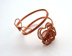 Delicate, Unique, OOAK, Statement Bracelet With Copper Rose by IacobJewelry on Etsy Copper Rose, Statement Jewelry, Delicate, Cooking Recipes, Pendant Necklace, Bracelets, Unique, Gold, Etsy