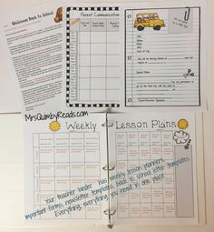 Editable Teacher Binders, Back-to-School, Important Forms for School Year, Weekly Lesson Planner, Monthly Newsletter Templates, MrsQuimby Reads, FREE Updates for Life, teacher binder, back to school