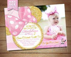 Pink Minnie Mouse Invitation Pink and Gold Glitter Minnie