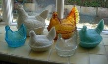 Fenton Hens.  Reminds me of Grandma Mathews.   I now have some of her hens on my window sill.  <3