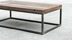 Industrial Hardwood Coffee Table - The Mason's Bench - Custom Furniture on Etsy… Iron Furniture, Steel Furniture, Industrial Furniture, Custom Furniture, Furniture Design, Furniture Stores, Furniture Dolly, Industrial Chic, Coffee Table Inspiration