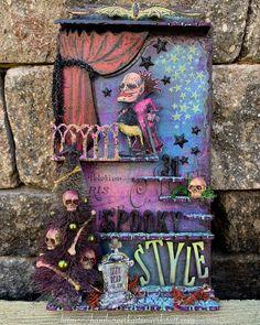 Halloween Scrapbook, Halloween Tags, Happy Halloween, Halloween Decorations, Halloween Stuff, Halloween Ideas, Dracula, Collage, Ranger Ink