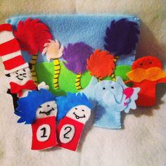 Dr Seuss Felt Finger Puppets by CourtneyFeltCreation on Etsy, $25.00
