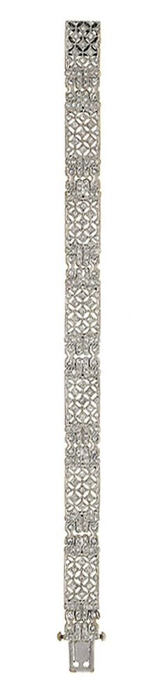 A diamond bracelet   Composed of a series of brilliant-cut diamond pierced rectangular panels with similarly-set fancy link connections, 18.5cm long