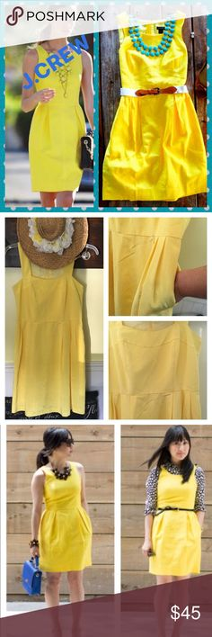 "J.CREW DRESS Lemon color in which the first picture depicts the exact color the last photos showed up lighter then it truly is! Has two front pockets and a back zipper this is new and never worn! Length is 36"" from shoulder J. Crew Dresses Midi"