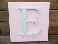 Pink and duck egg rose wooden letter E is for ... canvas