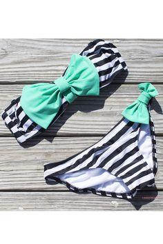 Sailor's Girl Black Striped Mint Bow Bandeau Bikini