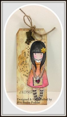 A Tag I made using my Gorjuss stamps for the first time...I just Loved colouring her !