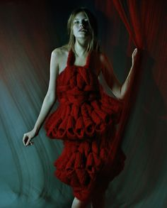Meet Sandra Backlund and her unique fashion creations for today's Sunday's Visual Diary, enjoy! Knitwear Fashion, Knit Fashion, Fashion Art, Fashion Fabric, Fashion Clothes, Knit Skirt, Knit Dress, Fabric Manipulation Fashion, Sandra Backlund