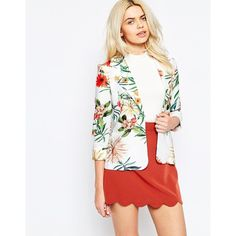 Girls on Film Lightweight Blazer in Tropical Print (€27) ❤ liked on Polyvore featuring outerwear, jackets, blazers, print, white blazer jacket, white blazer, light weight blazer, lightweight blazer and lightweight jackets