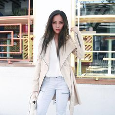 On the blog soon! Wearing @shoptobi top, @joie_clothing jeans and this beautiful @soiaandkyo trench via @shopbop.