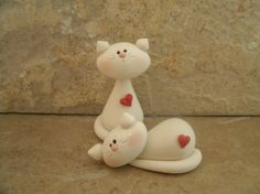 Kitty Pair by countrycupboardclay on Etsy