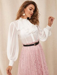 To find out about the Jabot Collar Lantern Sleeve Sheer Chiffon Blouse Without Bra at SHEIN, part of our latest Blouses ready to shop online today! Cute Skirt Outfits, Pink Outfits, Sheer Chiffon, Chiffon Fabric, Chiffon Blouses, White Blouses, Sexy Blouse, Blouse Dress, Ruffle Blouse