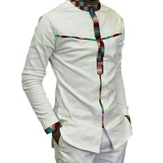 Fashion Mens Africa Festive Clothing Ankara Clothes African Print Tops Long Sleeve print and white Cotton patchwork T-shirt African Shirts For Men, African Dresses Men, African Attire For Men, African Clothing For Men, African Wear, African Suits, Ankara Clothing, African Style, African Print Shirt