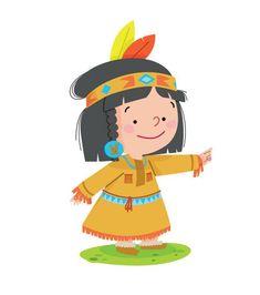 Ester Garay  Illustration - ester, garay, ester garay, commercial, educational, fiction, mass market, picture books, cute, sweet, YA, young reader, cute, girl, dress up, american indian, head dress