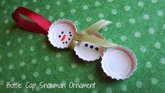 Christmas in July: DIY Bottle Cap Snowman Ornament Craft #CIJ13