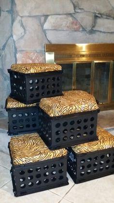 Crate seats for a jungle classroom.