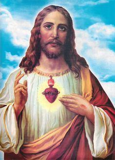 Copia de la pintura El Sagrado Corazón de Jesús Pintura muy famosa que representa el amor de Jesús por los seres humanos