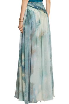 Multicolored silk-chiffon Concealed hook and zip fastening at side silk Dry clean Designer color: Light Aquamarine Maxi Styles, Chiffon Maxi, Jennifer Fisher, Matthew Williamson, Tie Dye Skirt, Menswear, Turquoise, Printed Silk, How To Wear