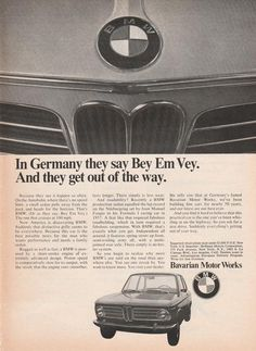 Authentic ad from 1969 for BMW. A great example of vintage advertising for Bavarian Motor Work cars, excellent for framing! Standard magazine size; some pages may show tearing on binding side from removal. Many other makes, models, and years available – please contact us with your favorite car!