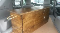 Walnut toy box with hand painted dandelion an rope handles