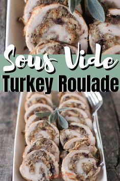 This turkey roulade recipe is perfection on a plate! Your choice of turkey tenderloin or boneless, skinless turkey breast is butterflied and rolled up with a simple sausage and cranberry stuffing. Cooked to perfection in a sous vide water bath and seared in a screaming hot skillet to get an amazing golden brown color. Serve turkey roulade for your Thanksgiving feast or Christmas dinner. #sousvide #turkeyrrecipe #thanksgivingrecipe #christmasrecipe Flank Steak Recipes, Beef Recipes, Thanksgiving Feast, Thanksgiving Recipes, Easy Dinner Recipes, Great Recipes, Easy Recipes, Easy Weeknight Meals, Easy Meals