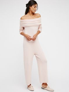Don't Leave Me Dry One Piece | Cozy, modern one piece featuring a femme off-the-shoulder neckline and an oversized shapeless fit. Effortless wide leg fit. Soft and comfortable.