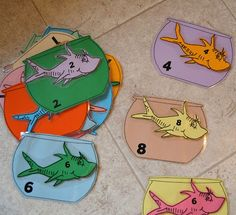 F fish day- preschool style-matching numbered bowls to numbered fish
