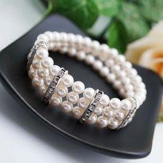 3 Strands Swarovski Pearls Bridal Bracelet - Earrings Nation