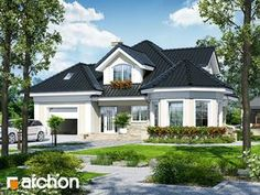 Dom pod juką 4 House design under yucca 4 mirror image 1 Village House Design, House Front Design, Modern House Design, Bungalow Style House, 3d House Plans, House Design Pictures, House Elevation, Facade House, Bungalows