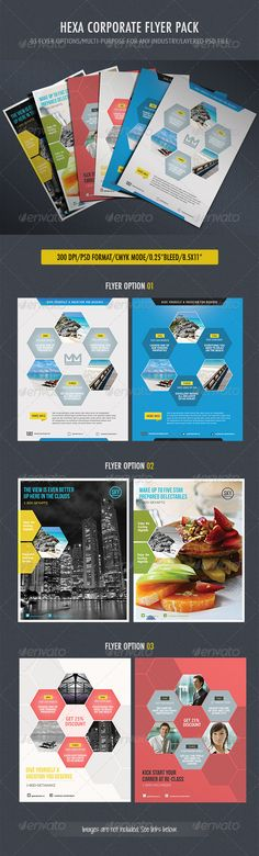 "Business Hexa Flyer #GraphicRiver This flyer is versatile and can be used for any business segment: Real Estate, Finance, Sport, Travel, Hotel, Automobile etc. What's in the file: 6 psd files help file File Feature 8.5×11 CMYK mode 0.25"" bleed 300dpi Fonts used PT Sans Narrow ( .fontsquirrel /fonts/PT-Sans) PT Sans Regular ( .fontsquirrel /fonts/PT-Sans) CHECK OUT OUR WORDPRESS THEME Created: 27February13 GraphicsFilesIncluded: Photosh..."