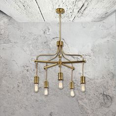 E2 Contract Lighting | Products | Industrial Chandelier CL-33212-3 | UK | 5 Light Industrial Chandelier in polished brass and black metal & glass shades.