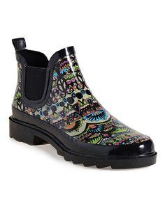 Look what I found on #zulily! Black & Neon Green Rhyme Rain Boot #zulilyfinds