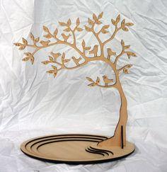 Strom na šperky - stojánek / Zboží prodejce Laser Cut Mdf, Laser Art, 3d Laser, Laser Cutting, Jewelry Tree, Jewelry Stand, Wooden Jewelry, Wooden Art, Wooden Crafts