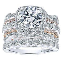 DIAMOND ENGAGEMENT RINGS - 18K Rose And White Gold Stacked Vintage 5-Band Style Diamond Engagement Ring