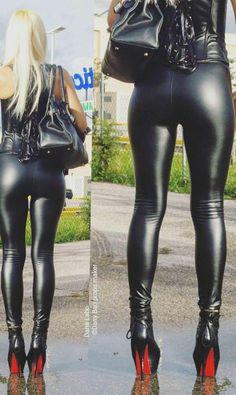 Leather amateur pants butt shiny