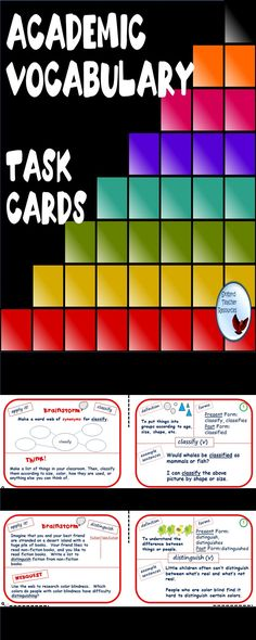 Academic Vocabulary Task Cards. Great for Test Prep, reading, literacy, centers, activities, ESL or English Language Learners https://www.teacherspayteachers.com/Product/Academic-Vocabulary-Task-Cards-Great-for-ESL-Special-Education-1798213?utm_source=https%3A%2F%2Fwww.teacherspayteachers.com%2FProduct%2FAcademic-Vocabulary-Task-Cards-Great-for-ESL-Special-Education-1798213&utm_campaign=Academic%20Vocab%20Task%20Card%20Cover