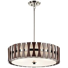 "Kichler Cirus 24""W Auburn Wood Convertible Pendant Light"