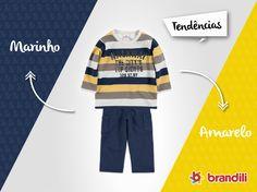 Alerta de tendência de moda infantil: Azul Marinho + Amarelo #lookbrandilii #temqueter