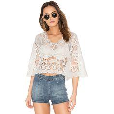 FARM Crochet Blouse ($180) ❤ liked on Polyvore featuring tops, blouses, lace top, lace blouse, crochet tops, crochet lace blouse and sheer lace blouse