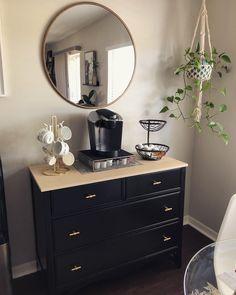 Diy Dresser Makeover, Furniture Makeover, Furniture Ideas, Gold Dresser, Dresser As Nightstand, Dresser Refinish, Refinished Furniture, Black Painted Dressers, Wardrobe Dresser