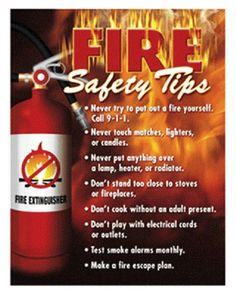 Fire Safety Tips POSTER Learning Classroom Chart Educational Teachers Tools #NoStar