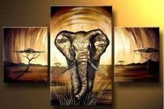 MODERN ABSTRACT HUGE WALL ART OIL PAINTING ON CANVAS-Elephant  No  Frame