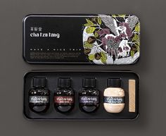 Package design by Victor for Cha Tzu Tang. Gorgeous, Not sure you could take this on a plane though. Cosmetic Packaging, Food Packaging, Packaging Ideas, Label Design, Package Design, Graphic Design, Oil Image, Have A Nice Trip, Print Finishes