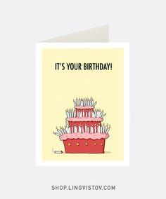 Greeting Cards - Shop.lingvistov.com Funny #funny, #illustrations, #doodles, #joke, #humor, #cartoon, #cute, #comics, #print, #gifts, #bday