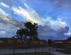 Evening Sky – Kai Liu Art Blog Kai Arts, Evening Sky, Art Blog, Northern Lights, Drawings, Illustration, Nature, Painting, Travel