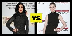Who Wore It Better Black Turtleneck Dress: Kat Von D vs. Anne Hathaway. See full looks here: http://buzznet.com/~648598f
