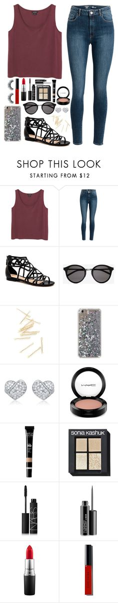 """Red lips❤️"" by donut-qveen ❤ liked on Polyvore featuring Monki, Yves Saint Laurent, MAC Cosmetics, Sonia Kashuk, NARS Cosmetics and Bobbi Brown Cosmetics"